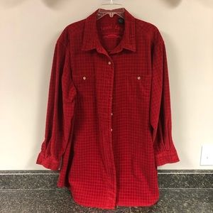Jesse Lee red corduroy jacket shirt 2X